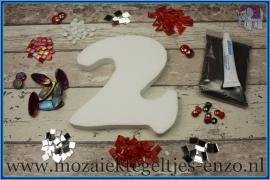 Mozaiek Kant & Klaar Pakket Piepschuim Huisnummer Groot - Cijfer 2 Rood