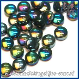 Glasmozaiek steentjes - Optic Drops Parelmoer - 12 mm - Enkele Kleuren - per 50 gram - Dark Green