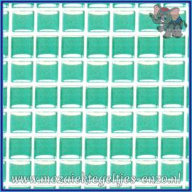 Glasmozaiek tegeltjes - Murrini Crystal - 1 x 1 cm - Enkele Kleuren - per 60 steentjes - Mini Bright Aqua