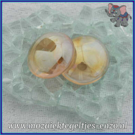 Glasmozaiek steentjes - Glasnuggets/Glasstenen Parelmoer - 18/22 mm - Enkele Kleuren - per 10 stuks - Orange Transparent Opalescent