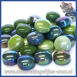 Glasmozaiek steentjes - Optic Drops Normaal en Parelmoer - 12 mm - Gemixte Kleuren - per 50 gram - Treehugger Green