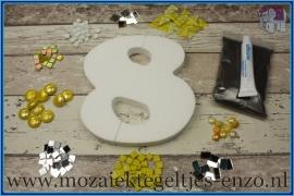 Mozaiek Kant & Klaar Pakket Piepschuim Huisnummer Groot - Cijfer 8 Geel