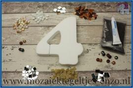 Mozaiek Kant & Klaar Pakket Piepschuim Huisnummer Groot - Cijfer 4 Bruin