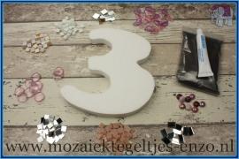 Mozaiek Kant & Klaar Pakket Piepschuim Huisnummer Groot - Cijfer 3 Roze