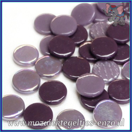 Glasmozaiek steentjes - Penny Rounds Normaal en Parelmoer - 18 mm - Gemixte Kleuren - per 50 gram - Purple Daze