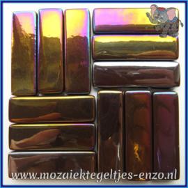 Glasmozaiek steentjes - Stix Rechthoekjes Staafjes XL Parelmoer - 12 x 38 mm - Enkele Kleuren - per 50 gram - Merbau