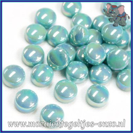 Glasmozaiek steentjes - Optic Drops Parelmoer - 12 mm - Enkele Kleuren - per 50 gram - Light Teal
