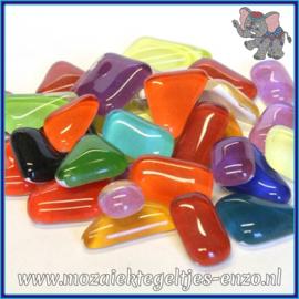 Glasmozaiek steentjes - Soft Glass Puzzles Normaal - Gemixte Kleuren - per 50 gram - Mixed Colours