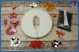 Mozaiek Kant & Klaar Pakket Piepschuim Huisnummer Groot - Cijfer 0 Oranje
