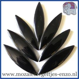 Keramische mozaiek steentje - Keramiek Petals Bloemblad XL Normaal - 15/60 mm - Enkele Kleuren -per 1 stuk - Black