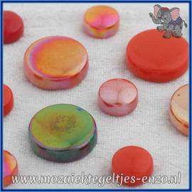 Glasmozaiek steentjes - Optic Drops Normaal en Parelmoer - 12 en 20 mm - Gemixte Kleuren - per 50 gram - Scarlet Fever