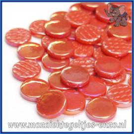 Glasmozaiek steentjes - Penny Rounds Parelmoer - 18 mm - Enkele Kleuren - per 50 gram - Orange Red