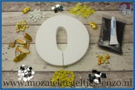 Mozaiek Kant & Klaar Pakket Piepschuim Huisnummer Groot - Cijfer 0 Geel