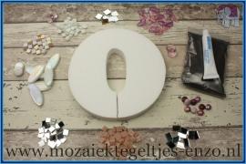 Mozaiek Kant & Klaar Pakket Piepschuim Huisnummer Groot - Cijfer 0 Roze