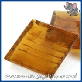 Glasmozaiek tegeltjes - Doorzichtig - 2 x 2 cm - Enkele Kleuren - per 20 steentjes - Amber