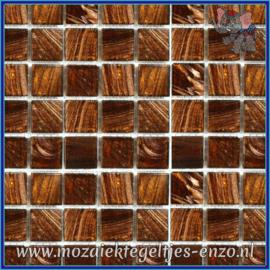 Glasmozaiek tegeltjes - Gold Line - 2 x 2 cm - Enkele Kleuren - per 20 steentjes - Deep Topaz Gold