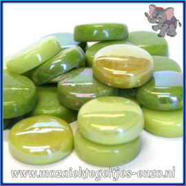 Glasmozaiek steentjes - Optic Drops Normaal en Parelmoer - 20 mm - Gemixte Kleuren - per 50 gram - Green with Envy