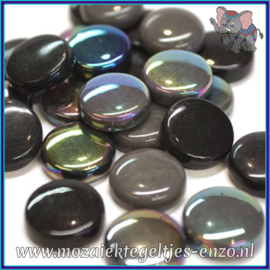 Glasmozaiek steentjes - Optic Drops Normaal en Parelmoer - 20 mm - Gemixte Kleuren - per 50 gram - Black Magic