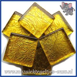 Glasmozaiek tegeltjes - Foil - 2 x 2 cm - Enkele Kleuren - per 20 steentjes - Deep Gold