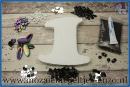 Mozaiek Kant & Klaar Pakket Piepschuim Huisnummer Groot - Cijfer 1 Zwart