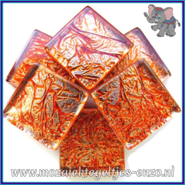 Glasmozaiek tegeltjes - Foil - 2 x 2 cm - Enkele Kleuren - per 20 steentjes - Coral