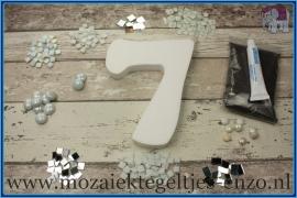 Mozaiek Kant & Klaar Pakket Piepschuim Huisnummer Groot - Cijfer 7 Wit