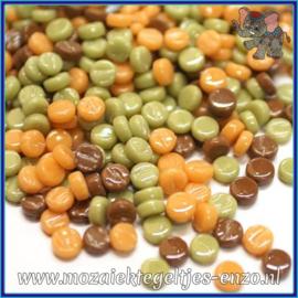 Glasmozaiek Pixel steentjes - Darling Dotz Normaal - 0,8 cm - Gemixte Kleuren - per 50 gram - Caramel Crunch