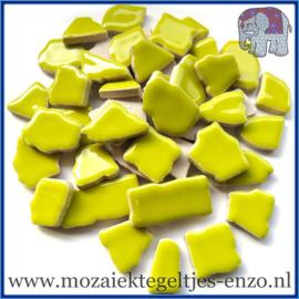 Keramische mozaiek steentjes - Keramiek Puzzel Stukjes Normaal - Enkele Kleuren - per 50 gram - Acid Yellow