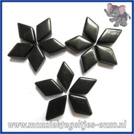 Glasmozaiek steentjes - Diamonds Ruitjes Wiebertjes Normaal - 12 x 19 mm - Enkele Kleuren - per 50 gram - Black
