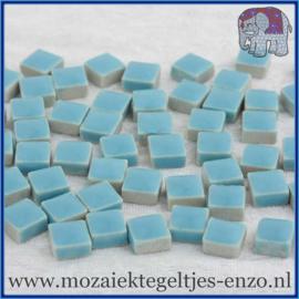 Geglazuurde Keramiek Stenen - 1 x 1 cm - Enkele Kleuren - per 60 steentjes - Thalo Blue