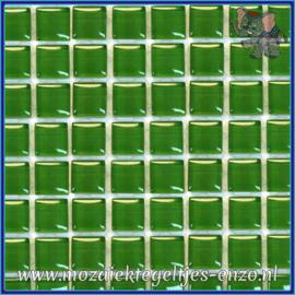 Glasmozaiek tegeltjes - Murrini Crystal - 1 x 1 cm - Enkele Kleuren - per 60 steentjes - Mini Irish Green