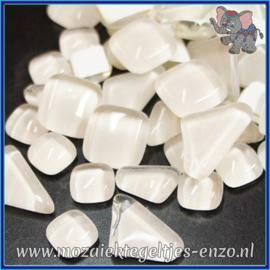 Glasmozaiek steentjes - Soft Glass Puzzles Normaal - Enkele Kleuren - per 50 gram - Ivory