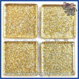 Glasmozaiek tegeltjes - Glitter - 2 x 2 cm - Enkele Kleuren - per 20 steentjes - White Gold