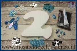 Mozaiek Kant & Klaar Pakket Piepschuim Huisnummer Groot - Cijfer 2 Blauw