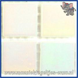 Glasmozaiek tegeltjes - Parelmoer - 2 x 2 cm - Enkele Kleuren - per 20 steentjes - White Diamond