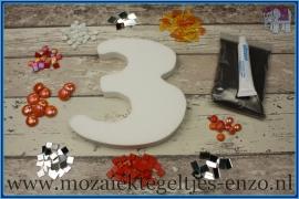 Mozaiek Kant & Klaar Pakket Piepschuim Huisnummer Groot - Cijfer 3 Oranje