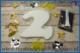 Mozaiek Kant & Klaar Pakket Piepschuim Huisnummer Groot - Cijfer 2 Geel