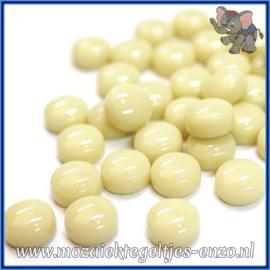 Glasmozaiek steentjes - Optic Drops Normaal - 12 mm - Enkele Kleuren - per 50 gram - Cream