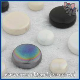 Glasmozaiek steentjes - Optic Drops Normaal en Parelmoer - 12 en 20 mm - Gemixte Kleuren - per 50 gram - Ebony and Ivory