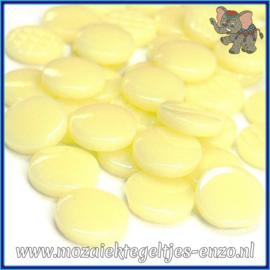 Glasmozaiek steentjes - Penny Rounds Normaal - 18 mm - Enkele Kleuren - per 50 gram - Yellow Pollen