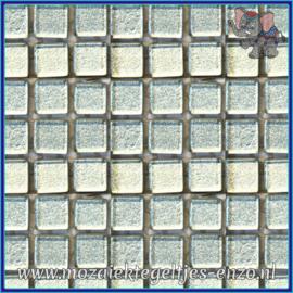 Glasmozaiek tegeltjes - Murrini Crystal - 1 x 1 cm - Enkele Kleuren - per 60 steentjes - Mini Shining Silver