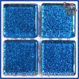 Glasmozaiek tegeltjes - Glitter - 2 x 2 cm - Enkele Kleuren - per 20 steentjes - Galaxy Blue