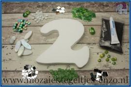 Mozaiek Kant & Klaar Pakket Piepschuim Huisnummer Groot - Cijfer 2 Groen