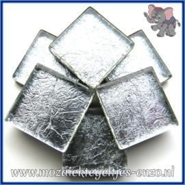 Glasmozaiek tegeltjes - Foil - 2 x 2 cm - Enkele Kleuren - per 20 steentjes - Silver