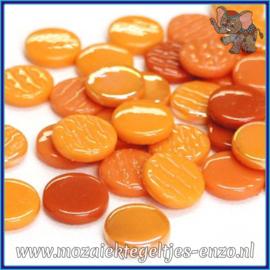 Glasmozaiek steentjes - Penny Rounds Normaal en Parelmoer - 18 mm - Gemixte Kleuren - per 50 gram - Agent Orange