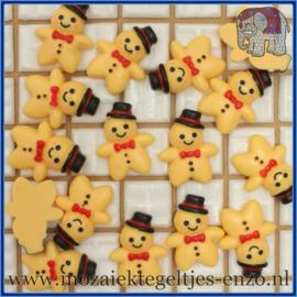 Cabochon hars plaksteen - Kerst - Platte onderkant - Unlimited edition - per 1 stuk - Gingerbread jongen