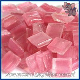 Glasmozaiek tegeltjes - Gold Line - 1 x 1 cm - Enkele Kleuren - per 60 steentjes - Mini Shocking Pink
