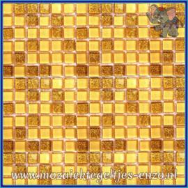Glasmozaiek tegeltjes - Glitter - 1 x 1 cm - Gemixte Kleuren - per 60 steentjes - Mini Fools Gold