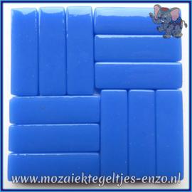 Glasmozaiek steentjes - Stix Rechthoekjes Staafjes XL Normaal - 12 x 38 mm - Enkele Kleuren - per 50 gram - True Blue