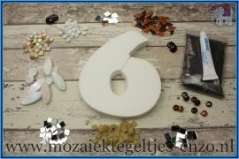 Mozaiek Kant & Klaar Pakket Piepschuim Huisnummer Groot - Cijfer 6 Bruin